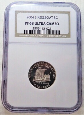 2004 S 5 CENT JEFFERSON (KEELBOAT) NGC PF 68 ULTRA CAMEO 2505443 023