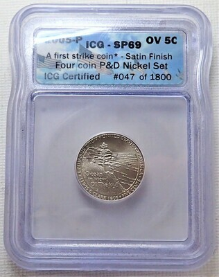2005 P 5 CENT JEFFERSON (OCEAN VIEW)  (FIRST STRIKE) (SATIN FINISHED) ICG SP69