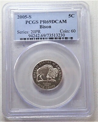2005 S 5 CENT JEFFERSON (BISON) PCGS PR69DCAM FR 73513230