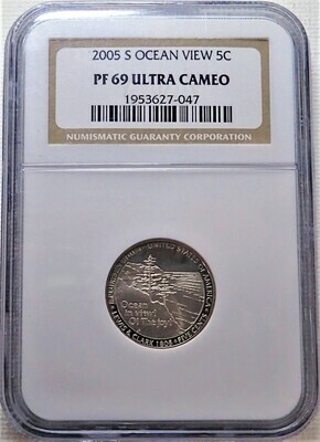 2005 S 5 CENT JEFFERSON (OCEAN VIEW) NGC PF 69 ULTRA CAMEO