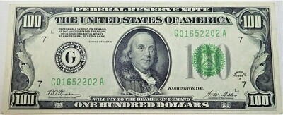 1928 A $100 FEDERAL RESERVE NOTE (CHICAGO) G01652202A