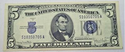 1934 D $5 SILVER CERTIFICATE S10350705A