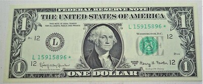 1963 A $1 FEDERAL RESERVE NOTE (STAR NOTE) L15915896