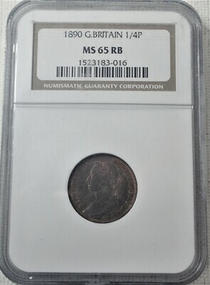 1890 GREAT BRITIAN QUARTER PENCE NGC MS65 RB 1523183-016