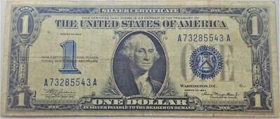 1934 $1 SILVER CERTIFICATE A72385543A