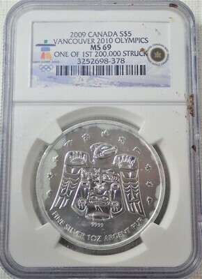 2009 CANADA S$5 VANCOUVER 2010 OLYMPICS NGC MS 69 3252698-378