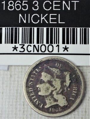 1865 3 CENT NICKEL 3CN001