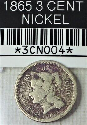 1865 3 CENT NICKEL 3CN004
