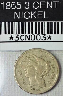 1865 3 CENT NICKEL 3CN003