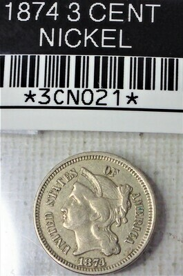 1874 3 CENT NICKEL 3CN021