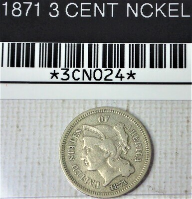 1871 3 CENT NICKEL 3CN024