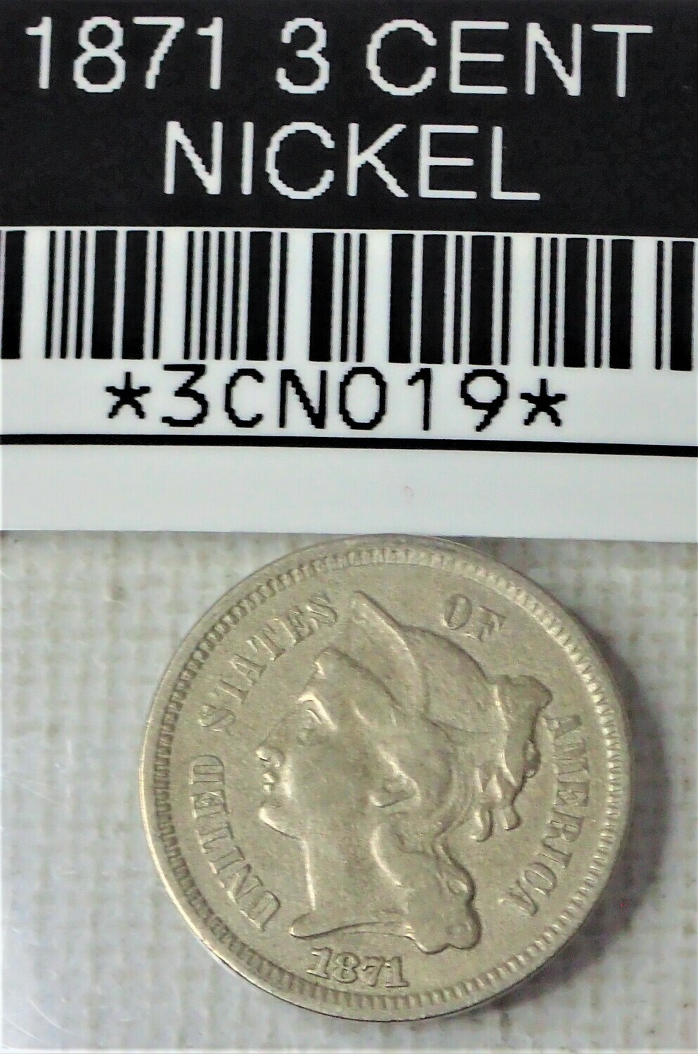 1871 3 CENT NICKEL 3CN019