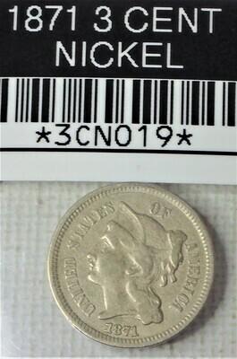 1871 3 CENT NICKEL 3CN019