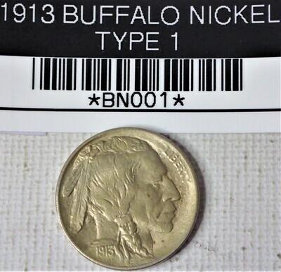 1913 BUFFALO NICKEL TYPE 1 BNOO1