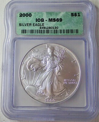 2000 AMERICAN EAGLE SILVER ICG FR MS69 3491280130