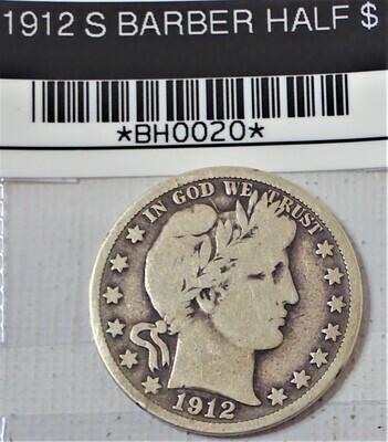 1912 S BARBER HALF $ BH0020