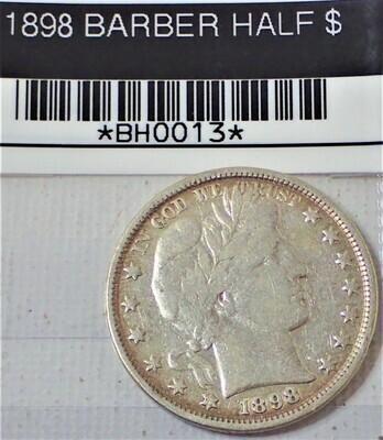 1898 BARBER HALF $ BH0013