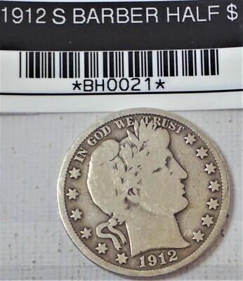 1912 S BARBER HALF $ BH0021