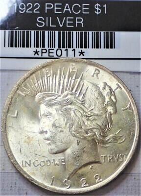 1922 PEACE $1 PE011