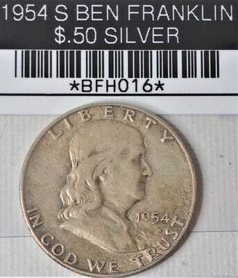 1954 S BEN FRANKLIN $.50 SILVER BFH016