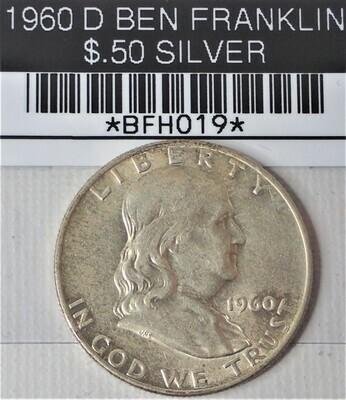 1960 D BEN FRANKLIN $.50 SILVER BFH019