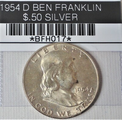 1954 D BEN FRANKLIN $.50 SILVER BFH017