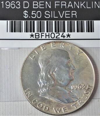 1963 D BEN FRANKLIN $.50 SILVER BFH024