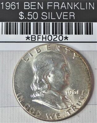 1961 BEN FRANKLIN $.50 SILVER BFH020