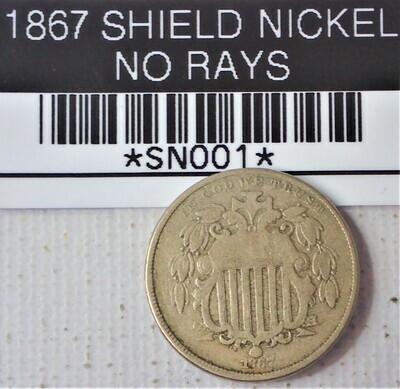 1867 SHIELD NICKEL NO RAYS SN001