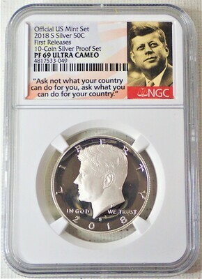 2018 S JFK HALF DOLLAR (SILVER EARLY RELEASE) NGC PF 69 ULTRA CAMEO 4817533 049