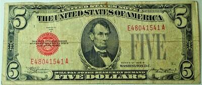 1928 B $5.00 U. S. NOTE E48041541A