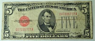 1928 B $5.00 U. S. NOTE E07335777A