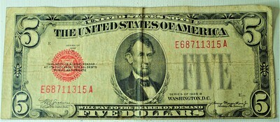 1928 B $5.00 U. S. NOTE E68711315A
