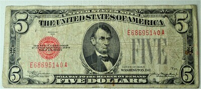 1928 C $5.00 U. S. NOTE E68695140A