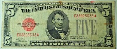 1928 C $5.00 U. S. NOTE E83625633A