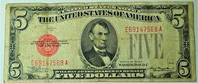 1928 C $5.00 U. S. NOTE E69147568A