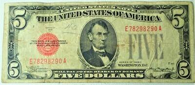 1928 C $5.00 U. S. NOTE E78298290A
