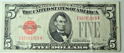 1928 C $5.00 U. S. NOTE E98381909A