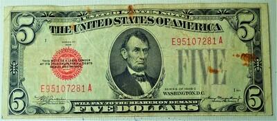 1928 C $5.00 U. S. NOTE E95107281A