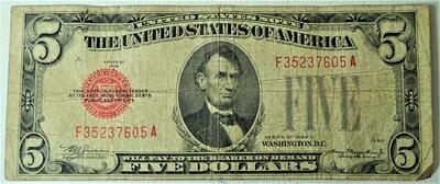 1928 C $5.00 U. S. NOTE F35237605A