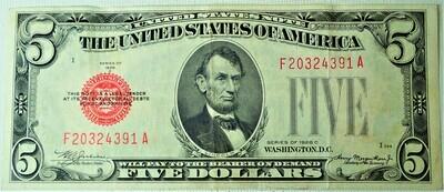 1928 C $5.00 U. S. NOTE F20324391A