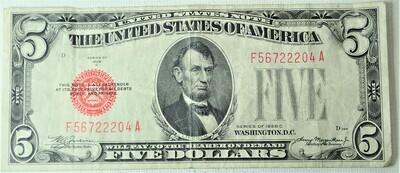 1928 C $5.00 U. S. NOTE F56722204A