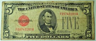 1928 C $5.00 U. S. NOTE F69740189A