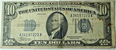 1934  $10.00 SILVER CERTIFICATE A34197223A