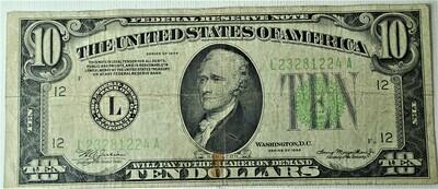 1934 $10.00 FEDERAL RESERVE NOTE L23281224A