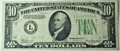1934 $10.00 FEDERAL RESERVE NOTE L24629874A