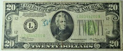 1934 $20.00 FEDERAL RESERVE NOTE L06344260A