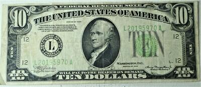 1934 $10.00 FEDERAL RESERVE NOTE L20195970A