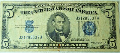1934 A $5.00 SILVER CERTIFICATE J21295537A