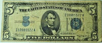 1934 A $5.00 SILVER CERTIFICATE I10985522A